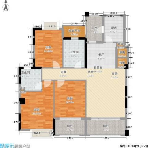 金色华庭3室0厅2卫1厨129.00㎡户型图