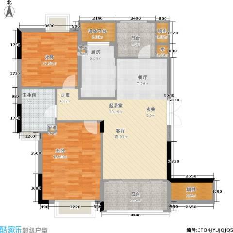 金色华庭2室0厅1卫1厨96.00㎡户型图