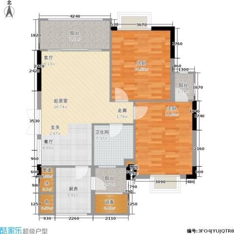 金色华庭2室0厅1卫1厨91.00㎡户型图