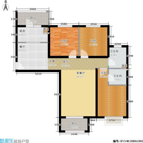 悦澜湾3室1厅2卫1厨124.00㎡户型图