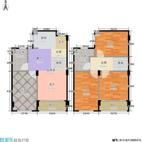 新宏・香榭丽舍3室0厅2卫0厨95.00㎡户型图