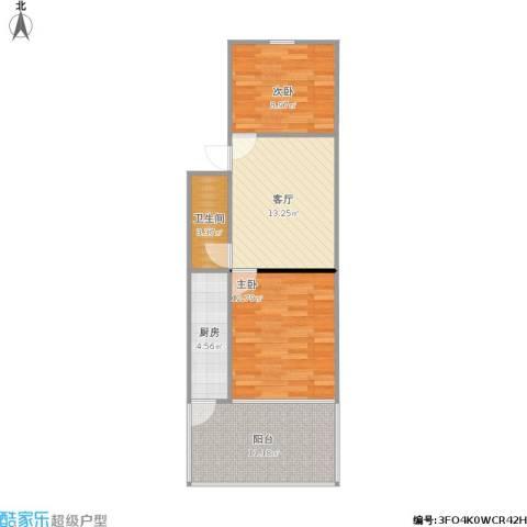 东幸福街2室1厅1卫1厨73.00㎡户型图