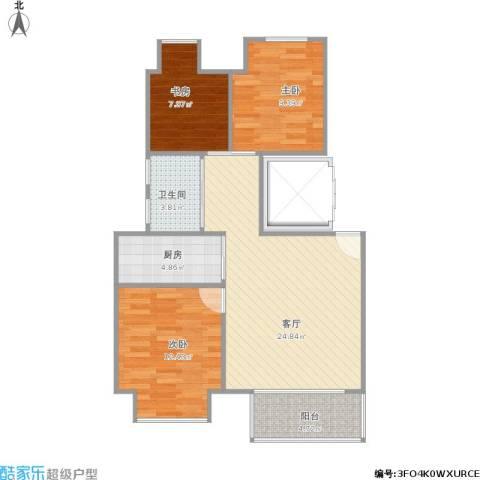 万科金色城市3室1厅1卫1厨91.00㎡户型图