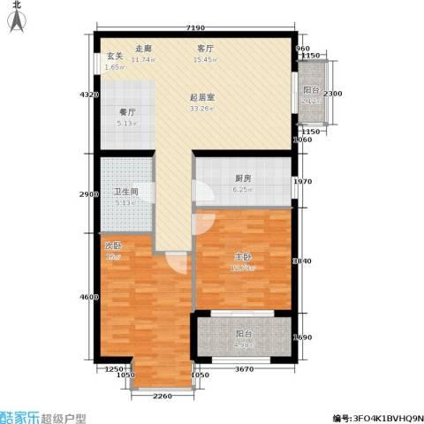 万达广场2室0厅1卫1厨85.00㎡户型图