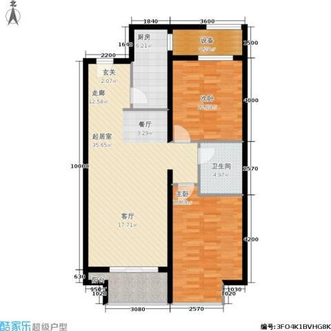 万达广场2室0厅1卫1厨92.00㎡户型图