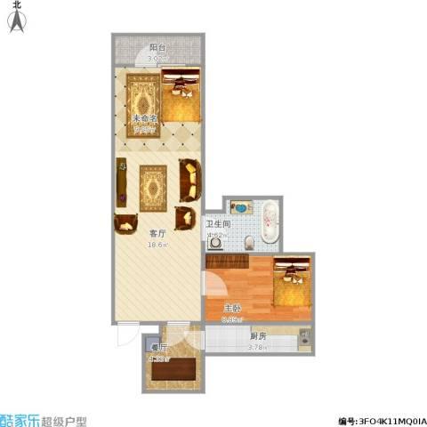 芍药居31号院1室2厅1卫1厨71.00㎡户型图