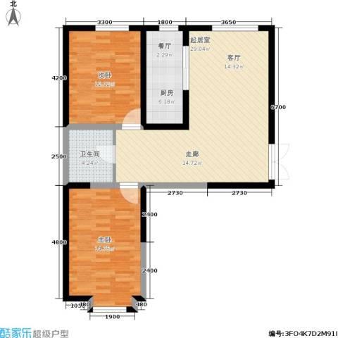 北大恒苑2室0厅1卫1厨99.00㎡户型图