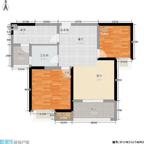 美的翰城2室0厅1卫1厨84.00㎡户型图