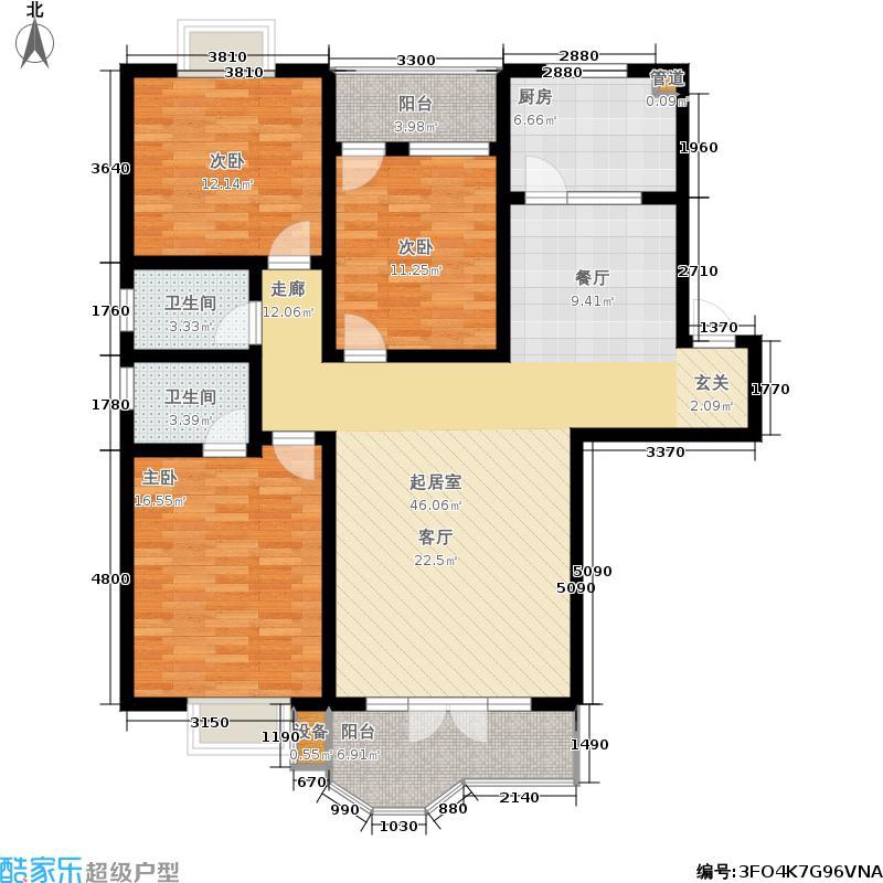 中湘庭苑127.21㎡06、07、08户型3室2厅2卫