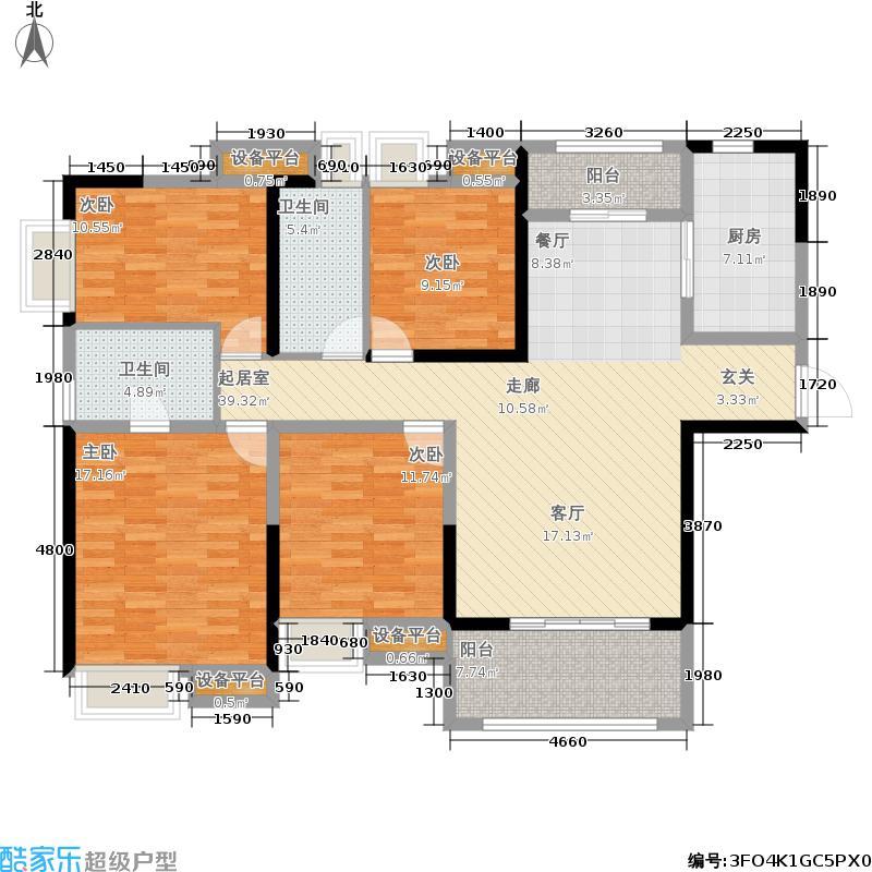 美的翰城142.00㎡高层标准层F1户型