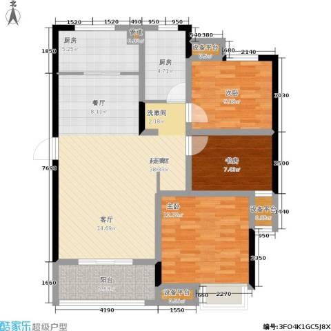 美的翰城3室0厅0卫2厨94.00㎡户型图