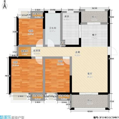美的翰城3室0厅1卫1厨109.00㎡户型图