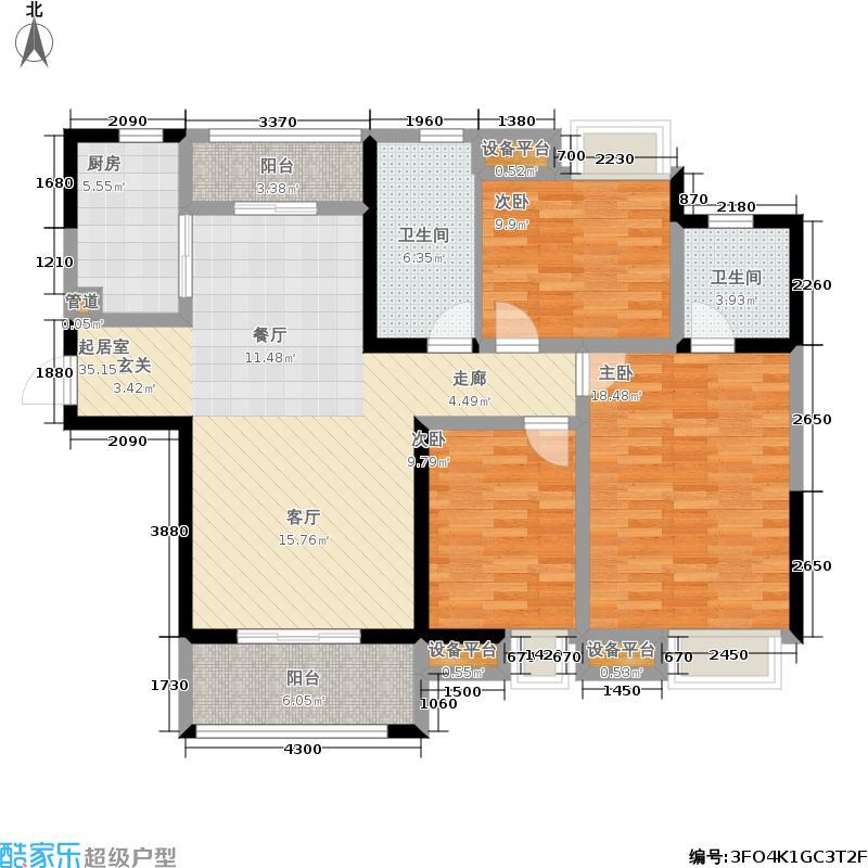 美的翰城121.00㎡高层标准层B2户型