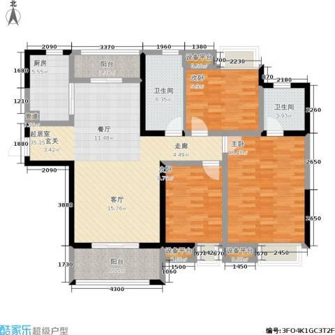 美的翰城3室0厅2卫1厨121.00㎡户型图