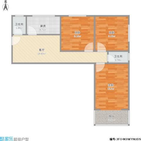 芳草园3室1厅2卫1厨79.00㎡户型图