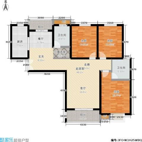 大地凤凰城3室0厅2卫1厨131.00㎡户型图