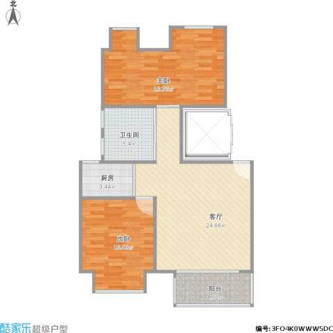 万科金色城市2室1厅1卫1厨91.00㎡户型图