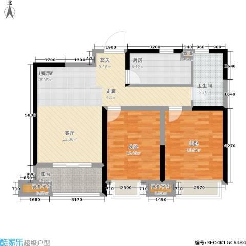 美的翰城2室0厅1卫1厨83.00㎡户型图