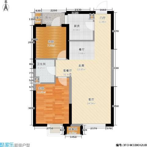 抚顺万达广场2室1厅1卫1厨89.00㎡户型图