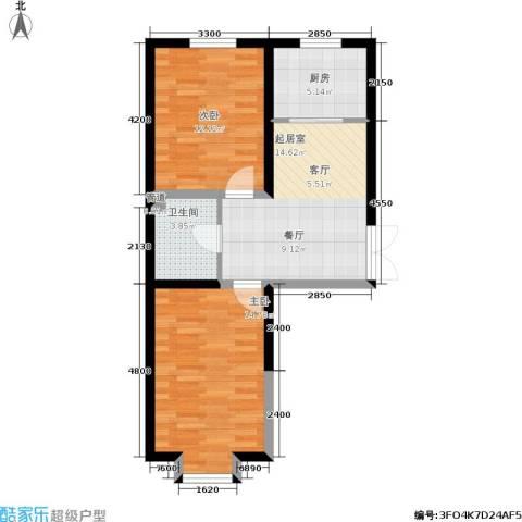 北大恒苑2室0厅1卫1厨86.00㎡户型图