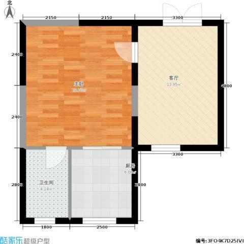 北大恒苑1室1厅1卫1厨70.00㎡户型图