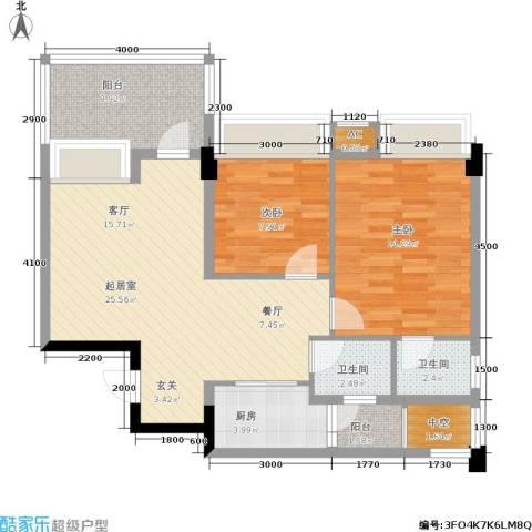 时代东安2室0厅2卫1厨100.00㎡户型图