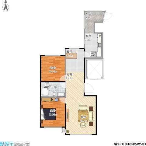 滨才城2室1厅1卫1厨103.00㎡户型图