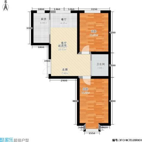 北大恒苑2室0厅1卫1厨80.00㎡户型图