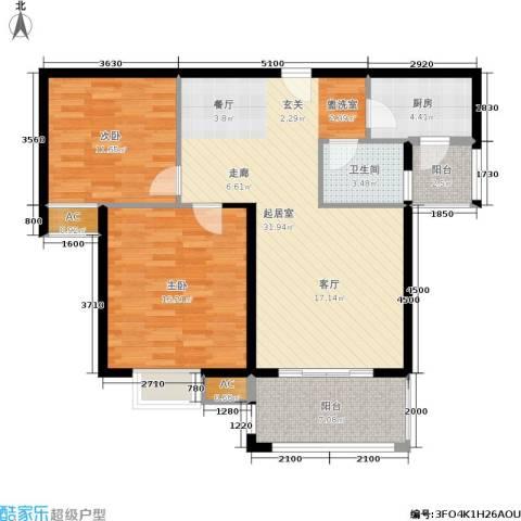 大地凤凰城2室0厅1卫1厨89.00㎡户型图