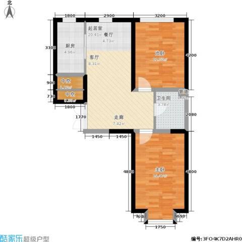 北大恒苑2室0厅1卫1厨84.00㎡户型图