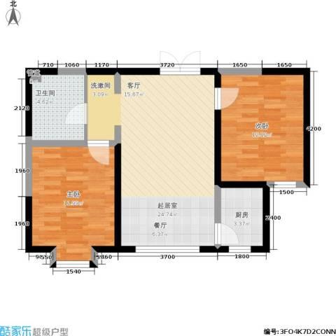 北大恒苑2室0厅1卫1厨88.00㎡户型图