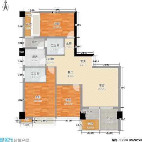 时代东安3室0厅2卫1厨147.00㎡户型图