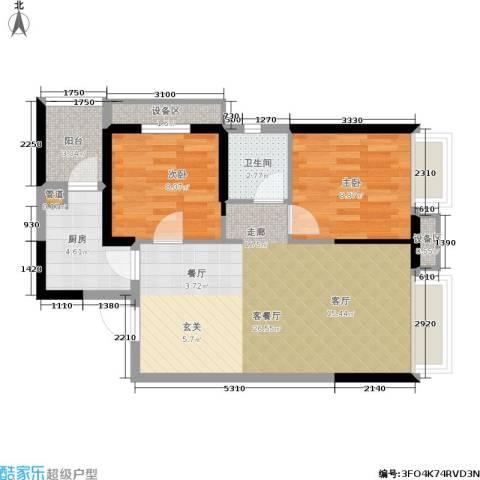 华强城2室1厅1卫1厨77.00㎡户型图