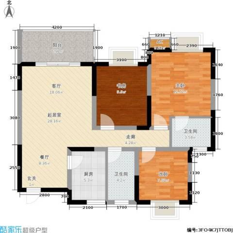 东方丽都3室0厅2卫1厨100.00㎡户型图