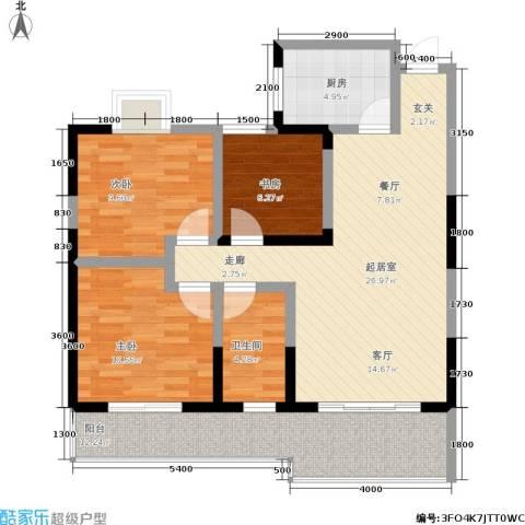 东方丽都3室0厅1卫1厨90.00㎡户型图