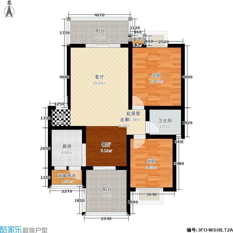 名门外滩90.00㎡E1B两室两厅单卫三阳台户型