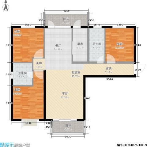 番茄社区二期3室0厅2卫1厨125.00㎡户型图