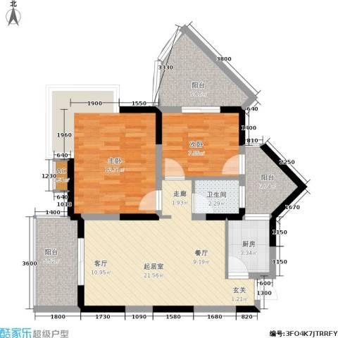 东方丽都2室0厅1卫1厨73.00㎡户型图