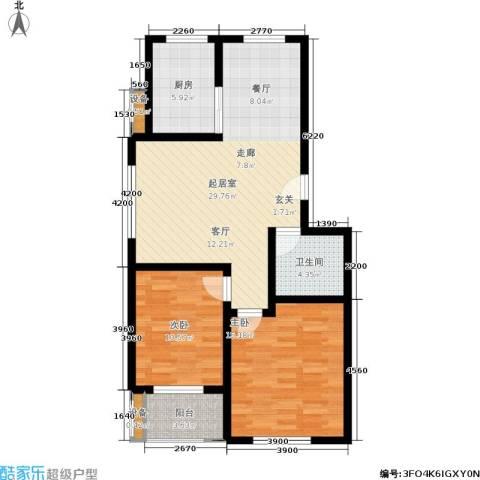 金江华城2室0厅1卫1厨82.00㎡户型图