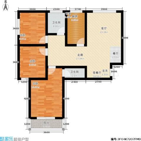 居然嘉园3室1厅2卫1厨122.00㎡户型图
