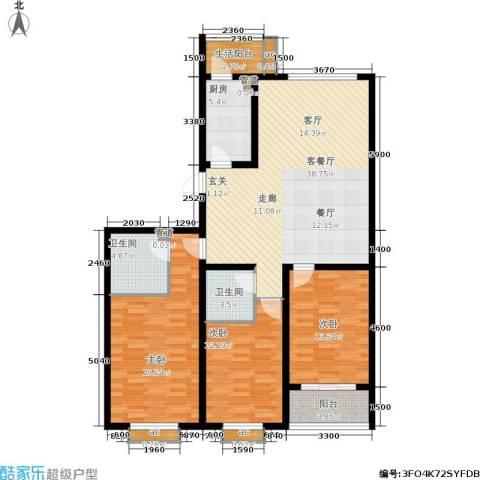 桐城中央3室1厅2卫1厨151.00㎡户型图