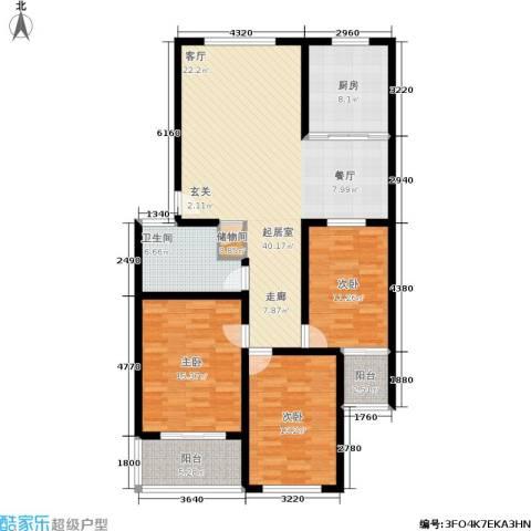 龙凤花园3室0厅1卫1厨118.00㎡户型图
