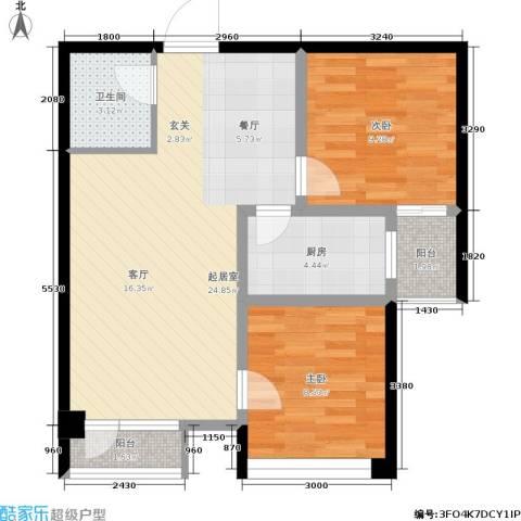 海湖豪庭2室0厅1卫1厨72.00㎡户型图