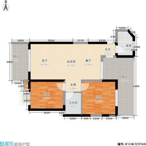 东方丽都2室0厅1卫1厨86.00㎡户型图