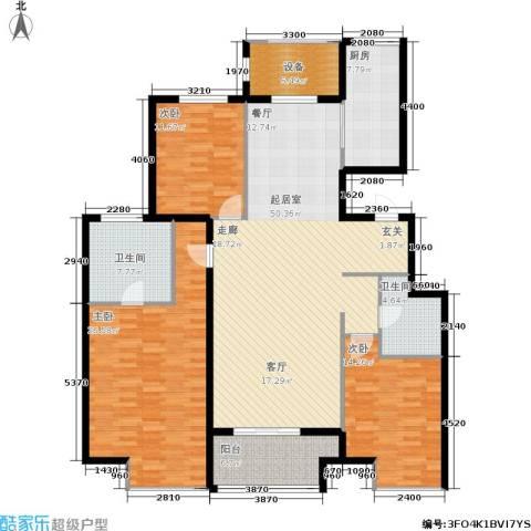 万达广场3室0厅2卫1厨145.00㎡户型图