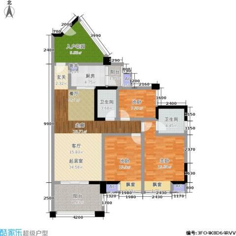 博雅海润广场3室0厅2卫1厨136.00㎡户型图