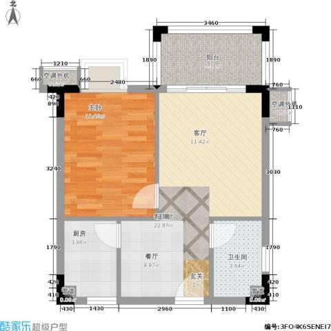 美林湖国际社区1室1厅1卫1厨53.00㎡户型图