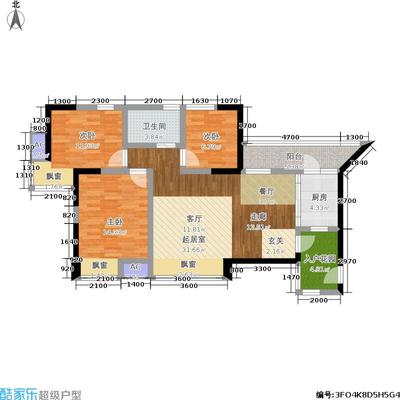 博雅海润广场104.29㎡D1户型(2期户型)户型3室2厅1卫