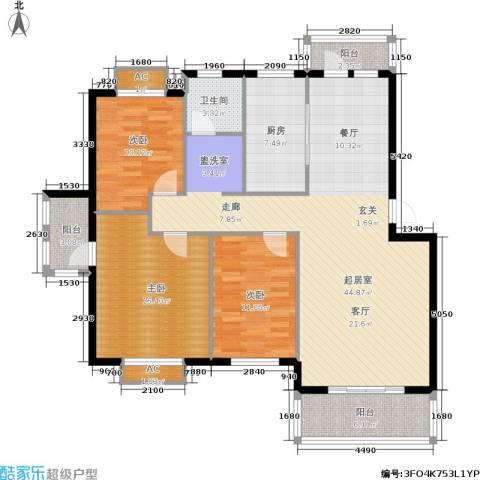 天籁华都3室0厅1卫1厨120.00㎡户型图