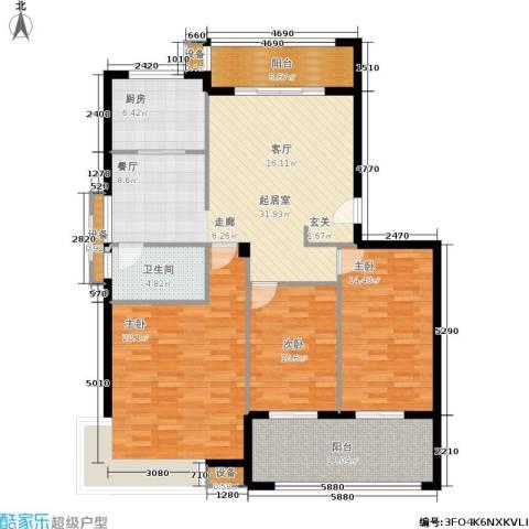 京华观邸3室0厅1卫1厨122.00㎡户型图
